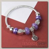 Браслет ассорти Марджери, подвеска МИКС, цвет фиолетовый в серебре - бижутерия