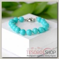 Браслет шар №10 Майорка, цвет голубой - бижутерия
