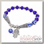 Браслет-оберег Рука-Хамса с бусиной, цвет синий в серебре - бижутерия