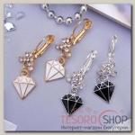 Серьги с эмалью Грация алмаз, цвет МИКС - бижутерия