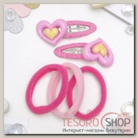 Набор для волос Мусечка (2 невидимки, 3 резинки) сердечки, розовый - бижутерия