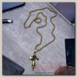 Кулон мужской Крест со змеёй, цвет чернёное золото, 60 см - бижутерия
