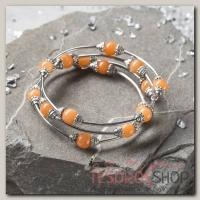 Браслет-пружинка шар №8 Коралл оранжевый - бижутерия