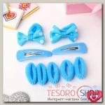 Набор для волос Софи (7 резинок, 2 невидимки) бантики в горошек, голубой - бижутерия