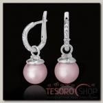 Серьги Фогель, цвет розовый в серебре - бижутерия
