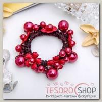 Резинка для волос Цветы жемчуга бордовый - бижутерия