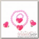Набор детский Выбражулька 3 предмета: клипсы, браслет, кольцо, сердечко, цвет МИКС - бижутерия