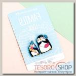 """Набор значков для мамы и ребёнка """"Пингвины"""" - бижутерия"""