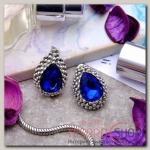 Серьги Морское сияние, цвет синий - бижутерия