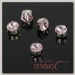 Стразы в цапах (набор 5 шт), 6x6мм, цвет розовый в серебре
