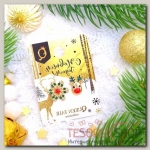 Серьги Новогодние снежинка и олень, цвет красно-зелёный в золоте - бижутерия