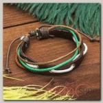 Браслет кожа Узелки плетение, 5 нитей, цветной - бижутерия
