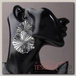 Серьги металл, Атмосфера сжатые цветы, цвет серебро - бижутерия