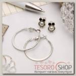Серьги-кольца с пуссетами Сова, цвет серебро, d=2,5 см - бижутерия
