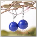 Серьги шар №18 гранёный Агат синий - бижутерия
