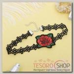 Чокер Роуз цветок с лепестками, цвет красно-зелёный в чёрном - бижутерия