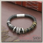 Браслет мужской Стиль кольца с бусиной, цвет чёрный - бижутерия