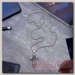 Кулон мужской Крест со змеёй, цвет чернёное серебро, 60 см - бижутерия