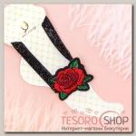 Браслет на ногу Роуз вышивка, цветы розы, цвет красно-зелёный в чёрном - бижутерия