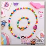 Набор детский Выбражулька 2 предмета: бусы, браслет, божья коровка, цветной - бижутерия