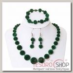 Набор 3 предмета: серьги, бусы, браслет Бархатный стиль шарики,, цвет зелёный - бижутерия