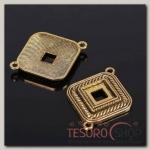 Коннектор (набор 4шт), площадка 10x10мм, Т197, цвет черненое золото