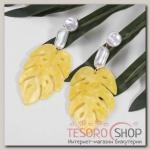 Серьги ассорти Лепесток, цвет жёлто-белый - бижутерия