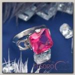 Кольцо Ассорти квадрат, цвет розовый в серебре, размер 17,18,19 МИКС
