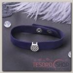 Браслет кожа Замшевый стиль круг, цвет фиолетовый в серебре - бижутерия
