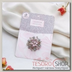 Кольцо для платка Цветок, цвет бело-розовый в серебре