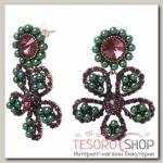 Серьги с жемчугом Цветы ромашки, цвет зелено-фиолетовый - бижутерия