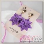 Серьги с эмалью Манифик цветок, цвет фиолетово-золотой - бижутерия