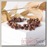 Браслет крошка с бисером Авантюрин коричневый - бижутерия