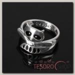 Кольцо Енот, размер 18, цвет чёрный в чернёном серебре