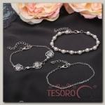 Браслет жемчуг Романтик розы, набор 3 штуки, цвет белый в серебре - бижутерия