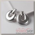 Серьги металл Эстетика, круг крупный, цвет серебро - бижутерия