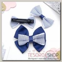 """Зажим для волос """"Красотка"""" набор 3 шт синий горох - бижутерия"""