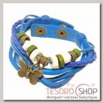 Браслет кожа Бабочка хиппи, цвет сине-зелёный - бижутерия