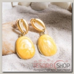 Серьги Ракушка акварель, цвет жёлтый в золоте - бижутерия