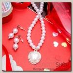 Набор 2 предмета: серьги, колье Ванесса сердце, цвет белый в серебре - бижутерия
