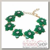 Браслет ассорти Цветение ромашки, цвет зелёный в золоте - бижутерия