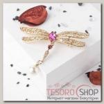 Брошь Стрекоза хвостик подвижный, цвет бело-розовый в золоте