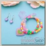 Набор детский Выбражулька 2 предмета: серьги, браслет, сердечки радужные - бижутерия