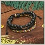 Браслет кожа Плетение бусины, 4 нити, цвет чёрно-синий - бижутерия