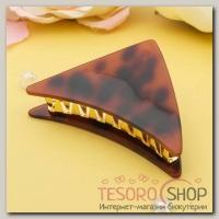 Краб для волос Версаль 9 см треугольник коричневый - бижутерия