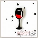 Брошь деревянная Бокал вина, цвет черный
