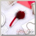 Булавка Пушистик, 7см, цвет бордовый - бижутерия