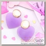 Серьги пластик Яркая юность сердце с кругом, фиолетово-золотой - бижутерия