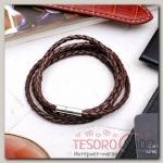 Браслет мужской Кожаное плетение, цвет коричневый, 82 см - бижутерия