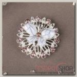 Брошь Бабочка на цветке, цвет бело-фиолетовый в серебре